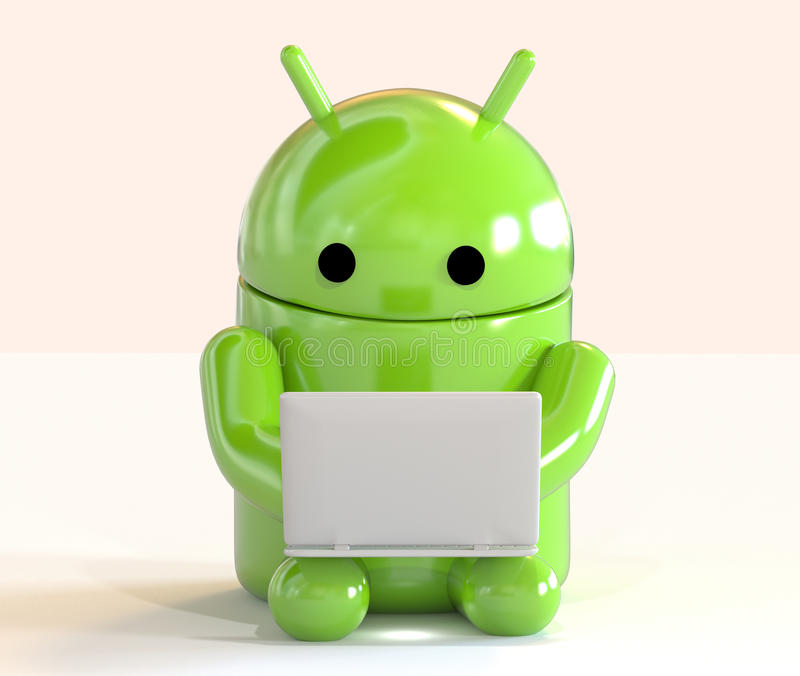 Google Android OS logo mascot working on a laptop on white background. Green mascot robot from Android OS logo working on a laptop isolated on white background vector illustration