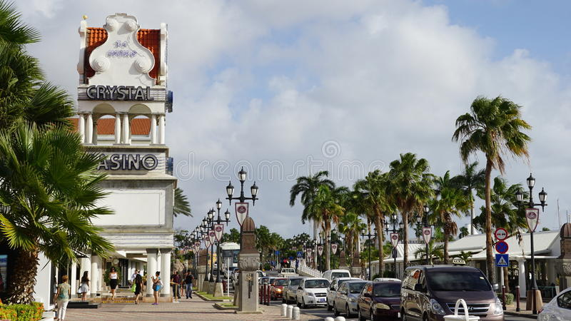 Lloyd G Smith Boulevard in Oranjestad, Aruba immagine stock