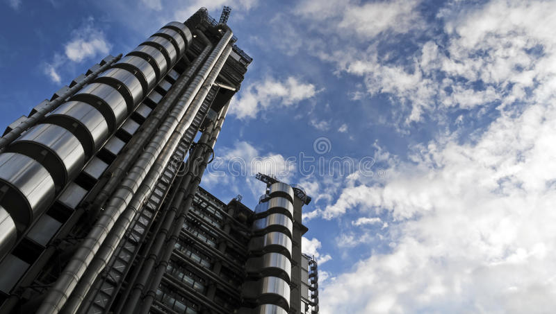 The Lloyd's Building. (also known as The Inside-Out Building) with copy space. It is the home of the insurance institution Lloyd's of London, and is located at royalty free stock images