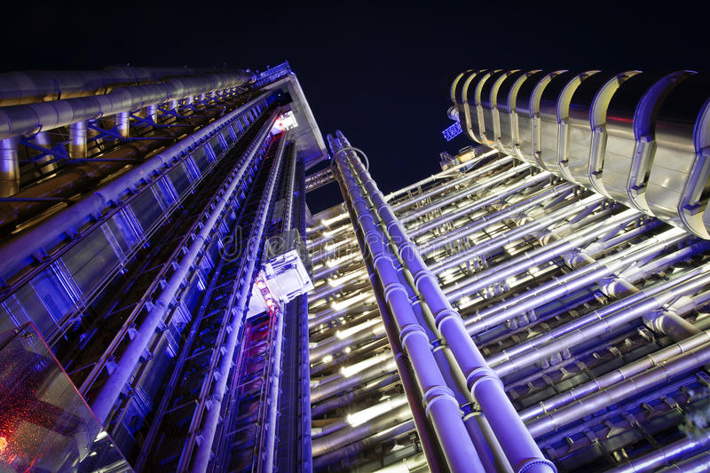 The Lloyd's Building, London. The Lloyd's Building (also known as The Inside-Out Building) closeup by night royalty free stock image