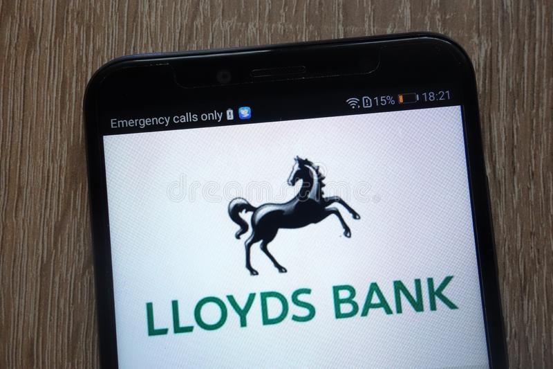 Lloyds Bank logo displayed on a modern smartphone royalty free stock image
