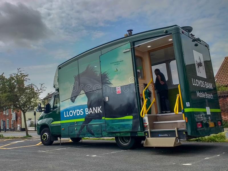 Lloyds Bank mobile branch van parked in car park in Bungay, Suffolk, England stock images