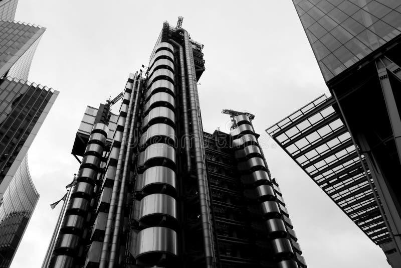 Lloyds de Londres, bâtiment d'assurance, ville de Londres, B&W photographie stock