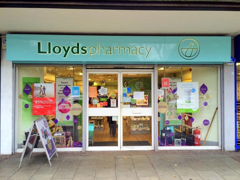 Lloyds Pharmacy Store. Bracknell,England - November 04, 2016: Front view of a Lloyds Pharmacy store in Bracknell, England. Lloyds have over 1,500 pharmacies royalty free stock photography