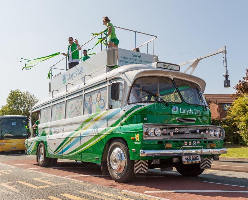 LloydsTSB Olympic Torch Bus royalty free stock photo