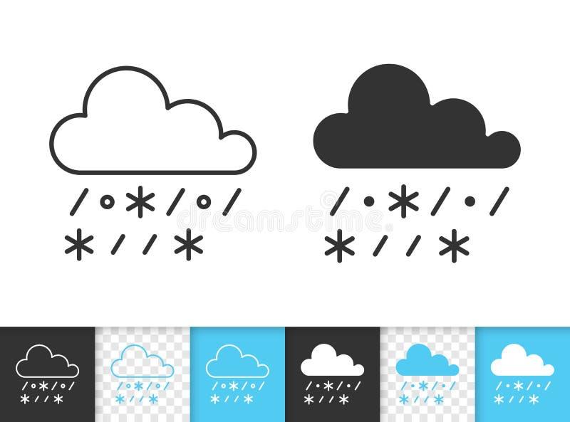 Llueva con la línea negra simple icono de la nieve del vector stock de ilustración