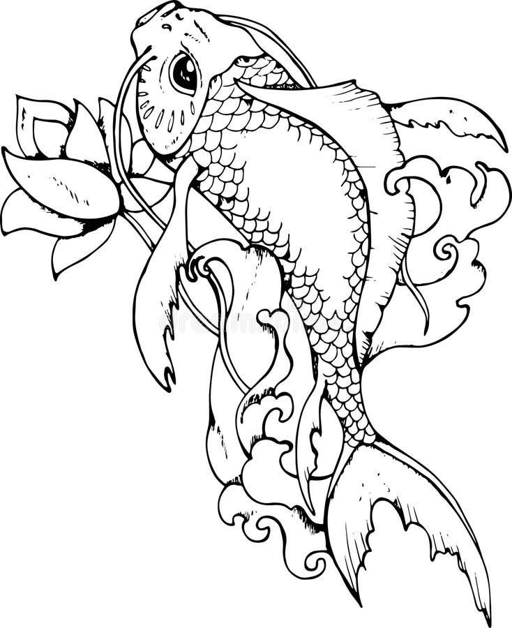 Llustration av den japanska karpen Svartvit teckning royaltyfri foto