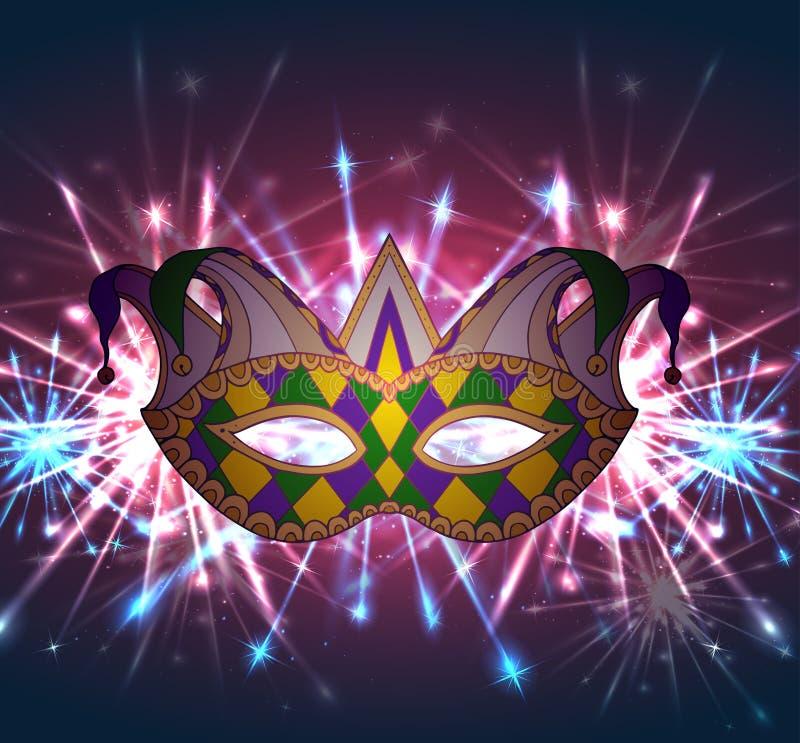 Llustration av en karnevalmaskering Mardi Gras med fyrverkerier vektor illustrationer