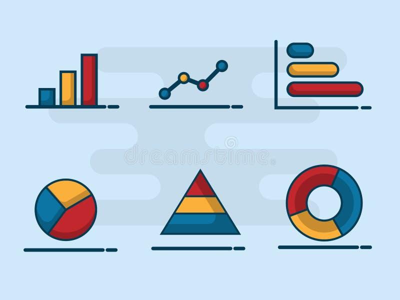 Llustration of bar, pie, ling , circle graph business infographi. Illustration of bar, pie, ling , circle graph business infographic statistics flat design stock illustration