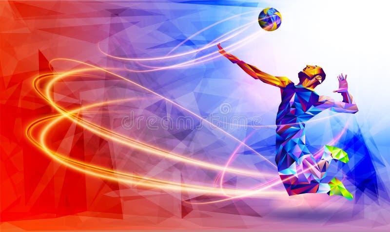 Llustration da silhueta abstrata do jogador de voleibol no triângulo jogador de voleibol, esporte ilustração do vetor