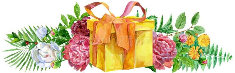 Llustration de la acuarela con la caja y las peonías amarillas de regalo Para el diseño, la impresión o el fondo libre illustration