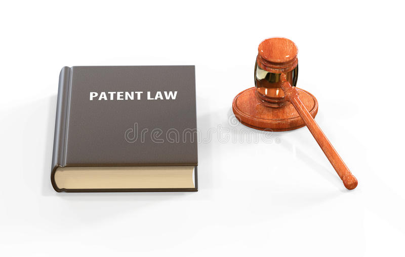Llustration degli attributi legali: martelletto e libro di diritto dei brevetti fotografie stock
