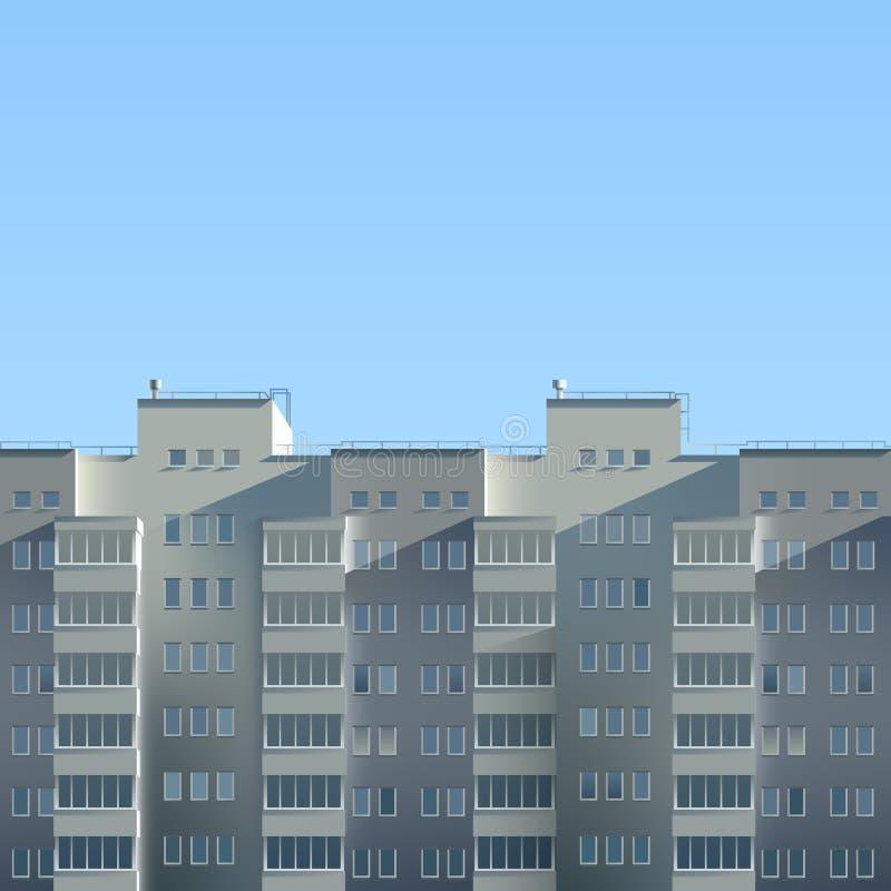 Llustration del estilo de la historieta cartel Edificio de varios pisos del verano realista Escena de la ciudad imágenes de archivo libres de regalías