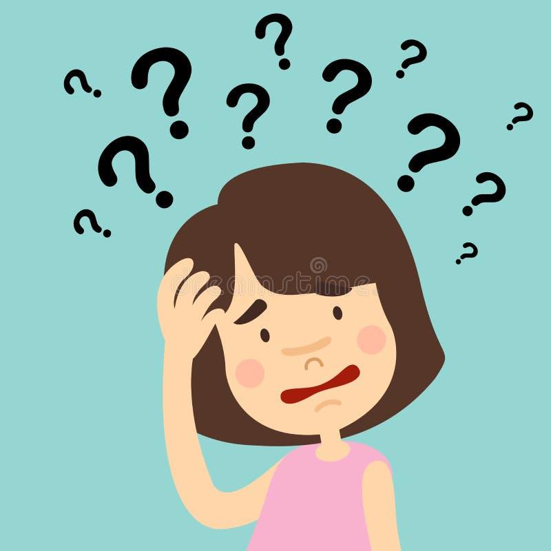 Llustration dziewczyny główkowanie z znak zapytania ilustracji