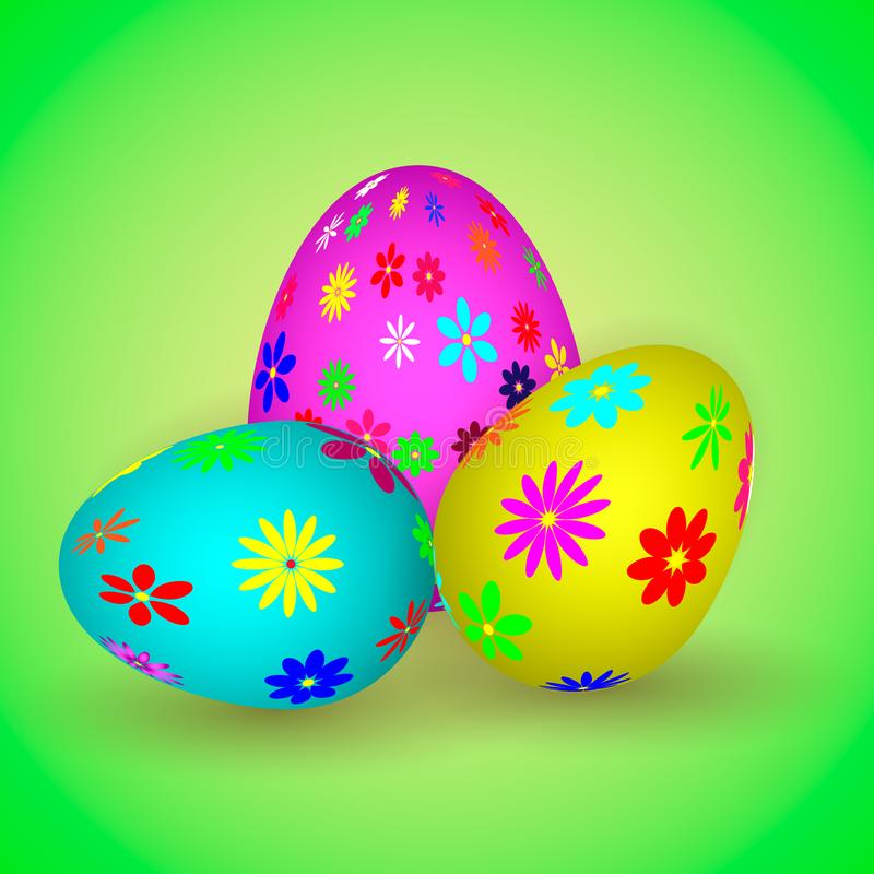 llustration of three easter eggs with colorful flowers. royalty free stock photo