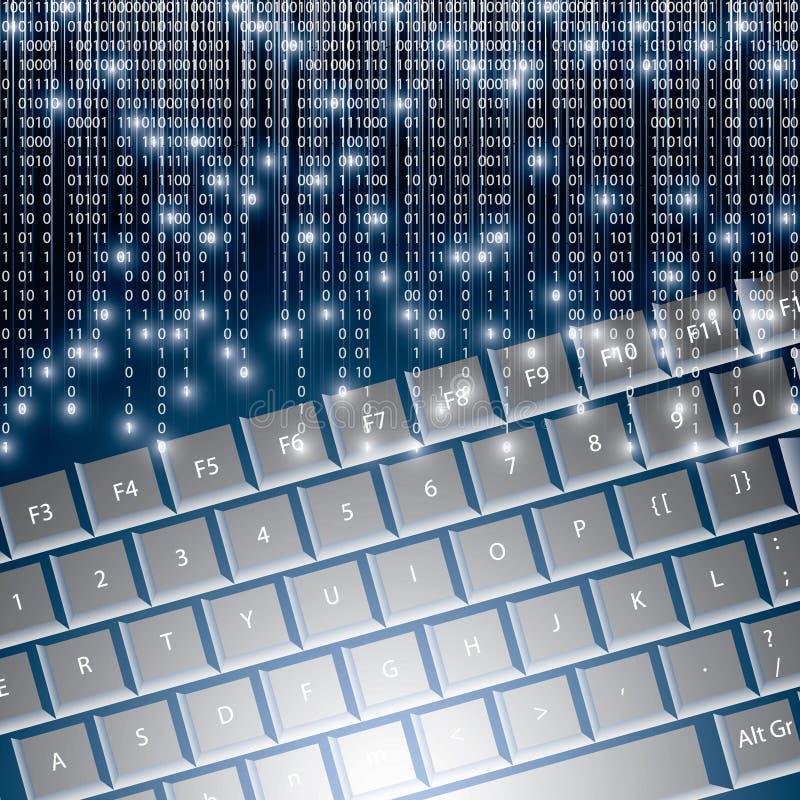 Llustration zaawansowany technicznie klawiatura z binarnym drętwieje royalty ilustracja