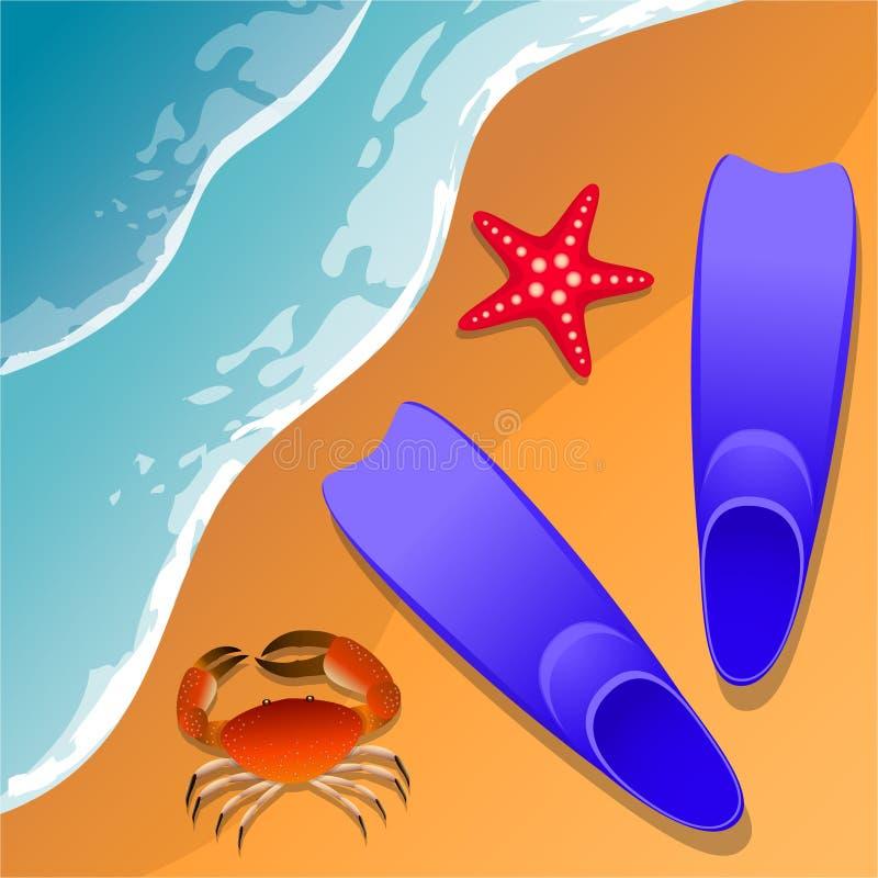 Llustrations bij het strandthema De zomervakantie door het overzees Krab, zeester en zwemmende vinnen in het zand Overzeese brand vector illustratie