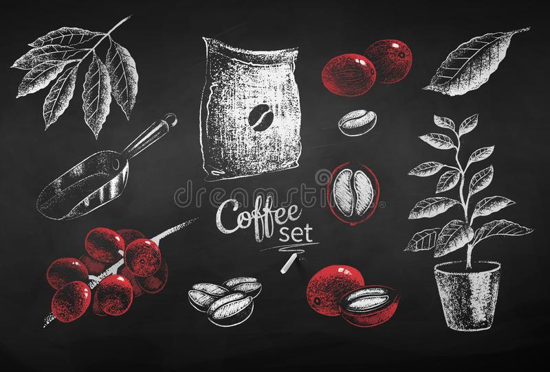 Llustrations of coffee beans sack and leaves. Vector red and white chalk drawn set of illustrations of coffee beans, sack and leaves on chalkboard background stock illustration