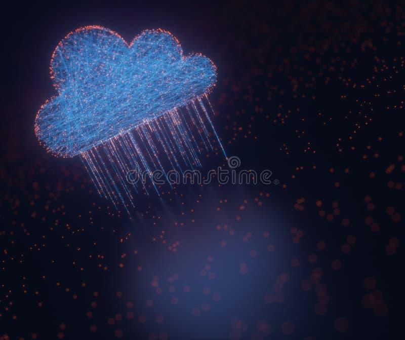 Lluvia computacional de los datos de la nube stock de ilustración