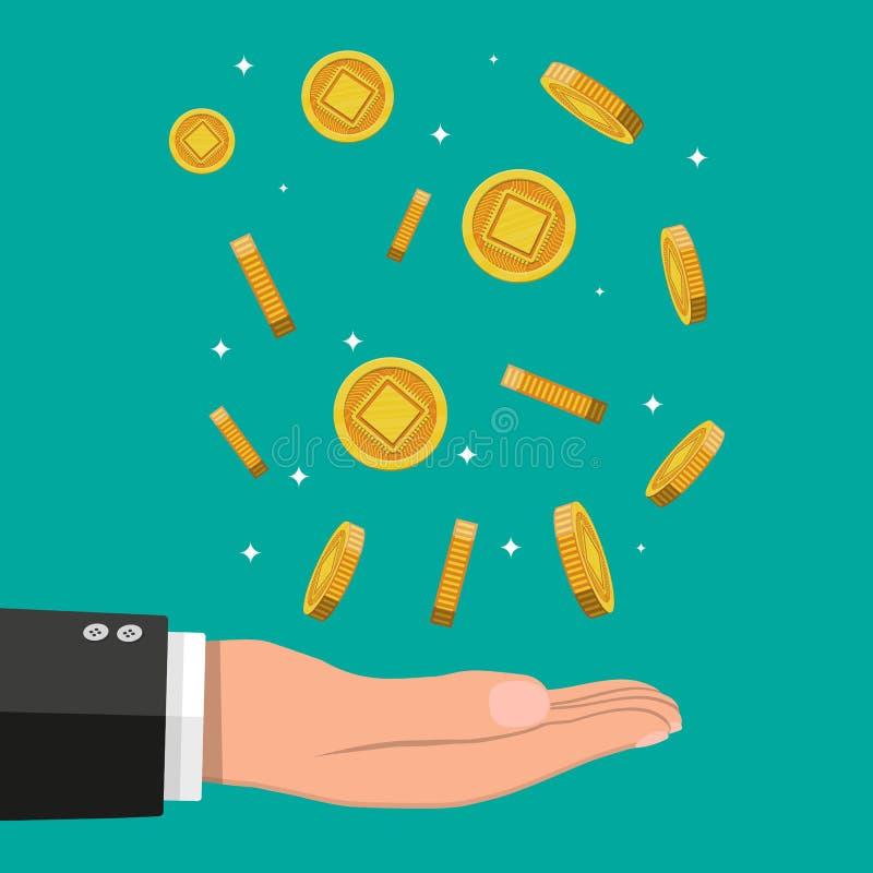 Lluvia de la moneda de oro con el chip de ordenador y la mano ilustración del vector