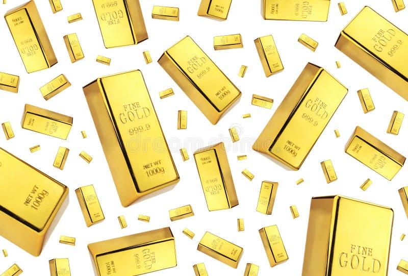 Lluvia de las barras de oro en el fondo blanco fotos de archivo