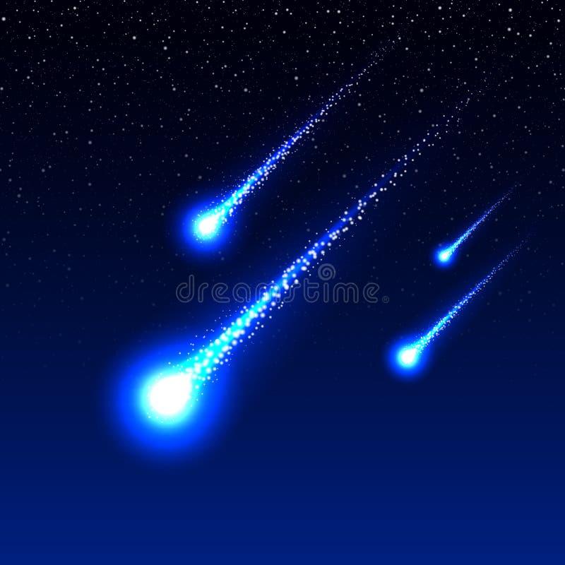 Lluvia de meteoritos stock de ilustración