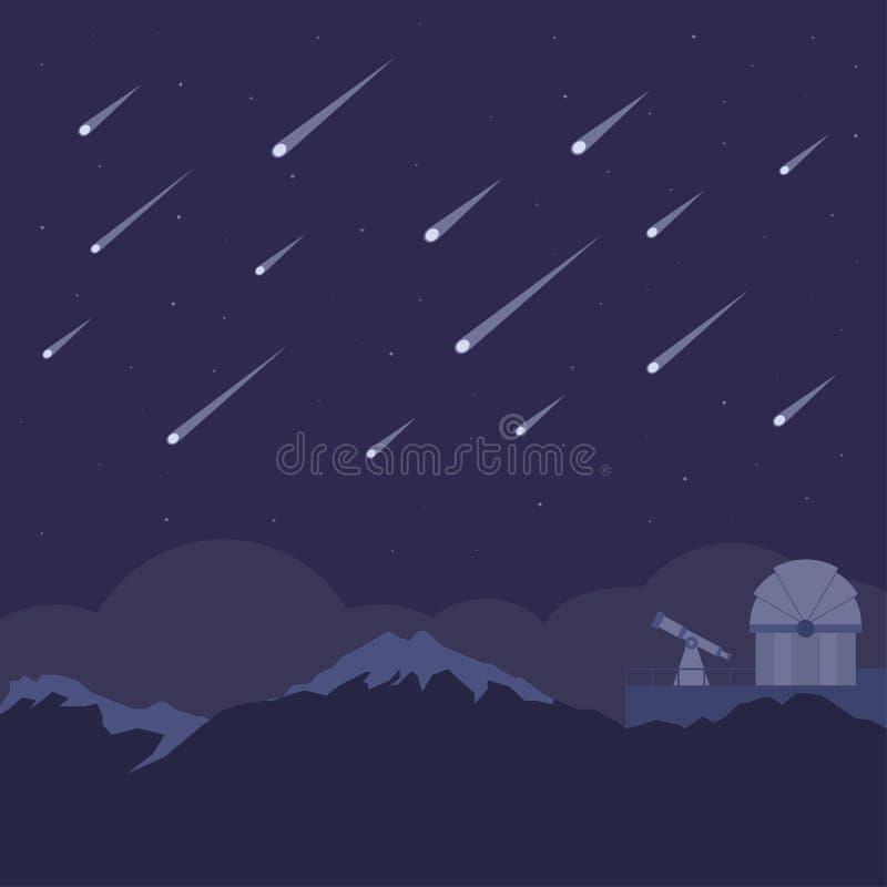 Lluvia de meteoritos con el fondo astronómico del observatorio y del cielo nocturno stock de ilustración