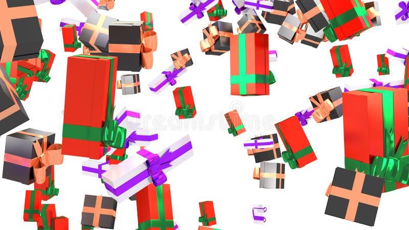 Lluvia de muchos blanco con la cinta púrpura y rojo con la cinta verde stock de ilustración