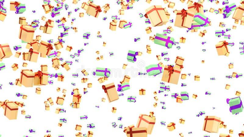 Lluvia de muchos regalos verdes del oro del rojo púrpura y anaranjado libre illustration