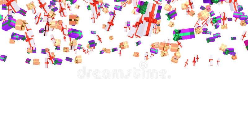 Lluvia de varios púrpura con la cinta y el melocotón verdes libre illustration