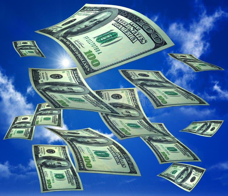 Lluvia del dinero en el cielo stock de ilustración