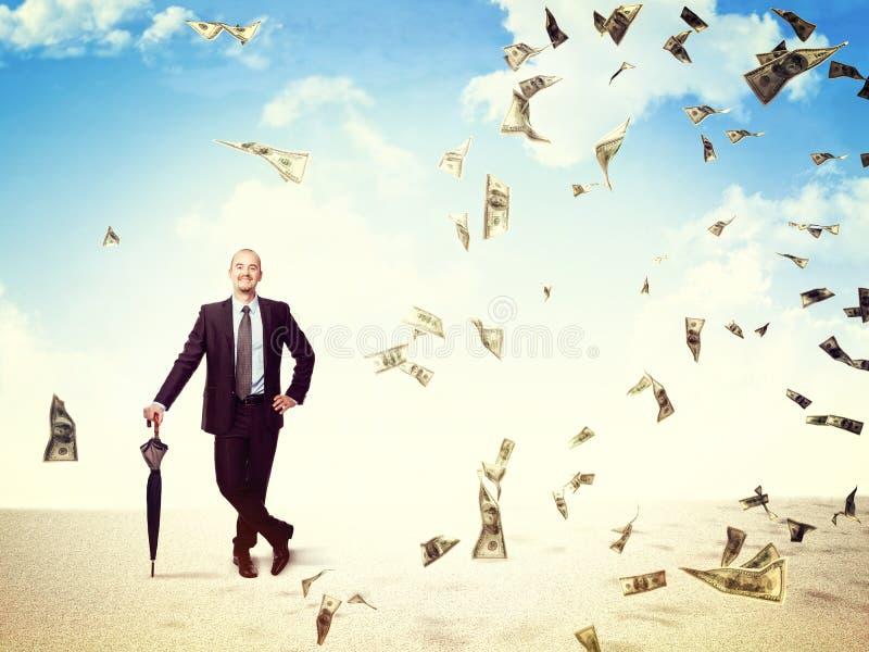 Lluvia del dinero en mí stock de ilustración