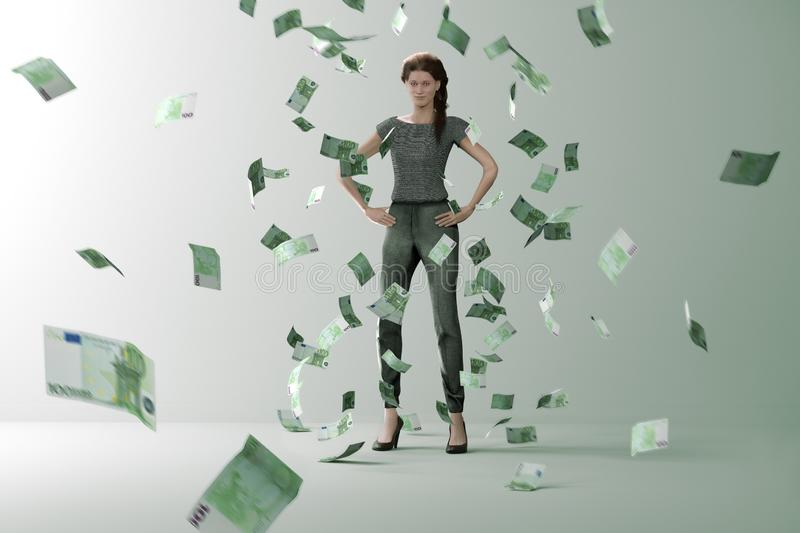 Lluvia del dinero en mujer acertada libre illustration