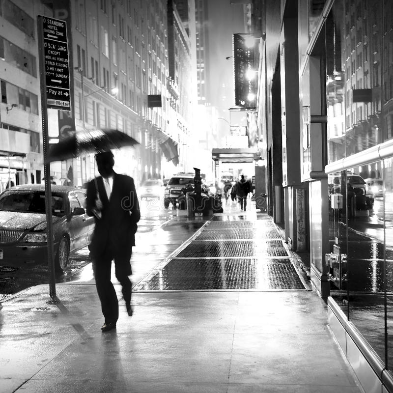 Lluvia En New York City Foto de archivo editorial