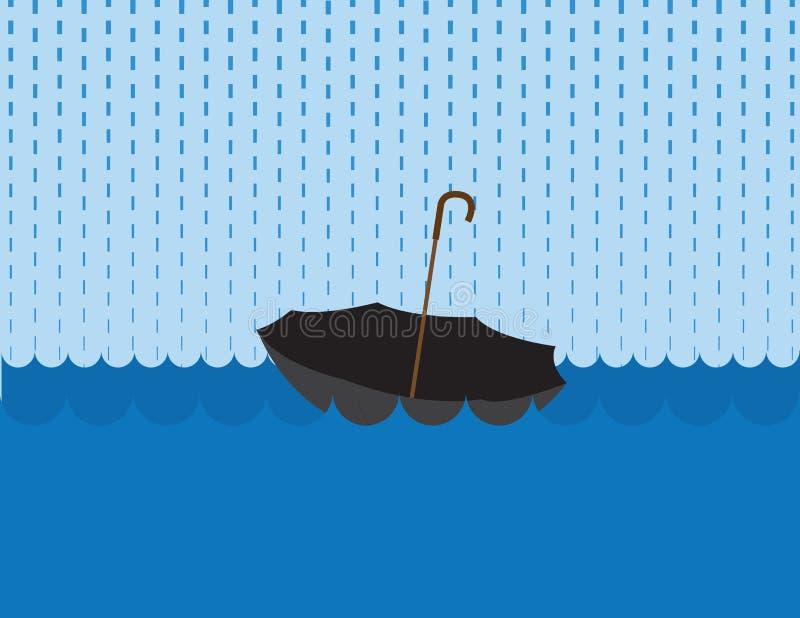 Lluvia flotante del paraguas libre illustration