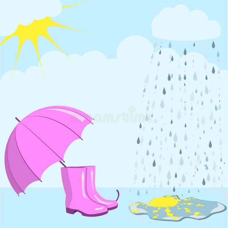 Lluvia y sol stock de ilustración