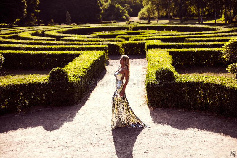 Lluxury lady in a silver dress. The luxury lady in a silver dress in green park. Fashion art photo stock photos