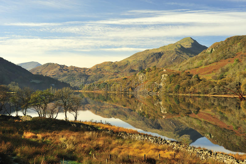 Llyn Gynant, Snowdonia, Pays de Galles photo libre de droits