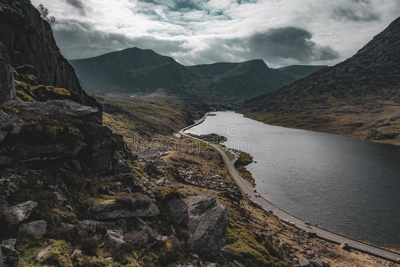 Llyn Ogwen在北部威尔士 免版税库存照片