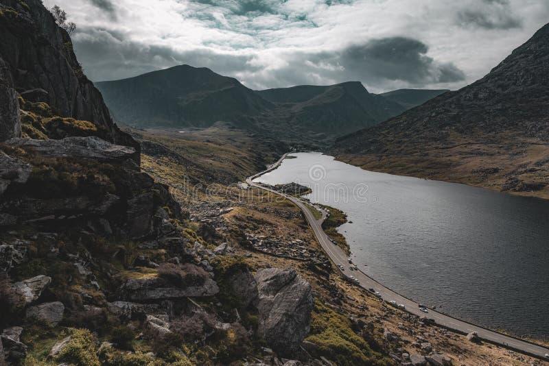 Llyn Ogwen i norr Wales royaltyfria foton