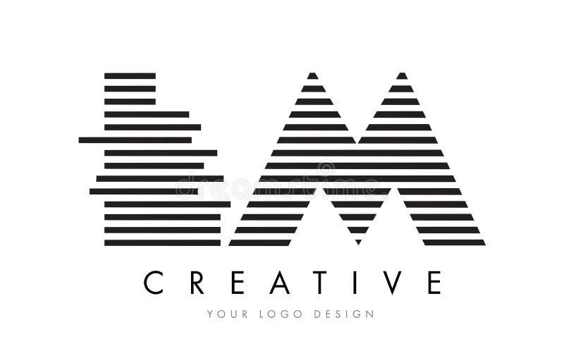 LM L M Zebra Letter Logo Design with Black and White Stripes vector illustration