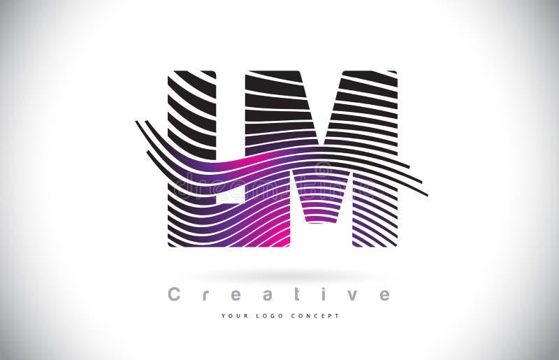 LM L M Zebra Texture Letter Logo Design With Creative Lines und lizenzfreie abbildung