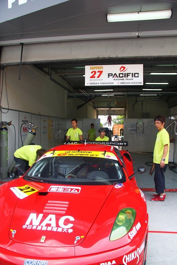 lmp ferari team garage supergt 2010 editorial stock photo