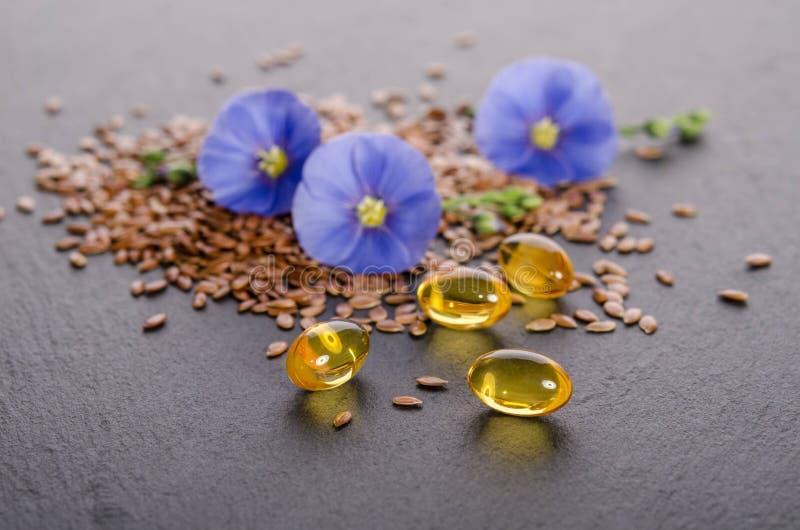 Lnów ziarna, piękno kwiat i olej w nakrętkach na popielatym tle, obraz royalty free