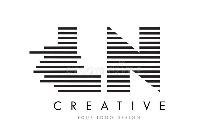 LN L N Zebra Letter Logo Design with Black and White Stripes stock illustration