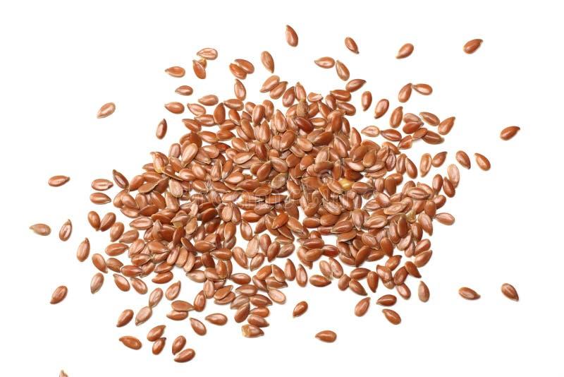 Lna Ziarna Odizolowywający na Biały Tle flaxseed lub linseed zboża zdrowa żywność Odgórny widok obrazy stock