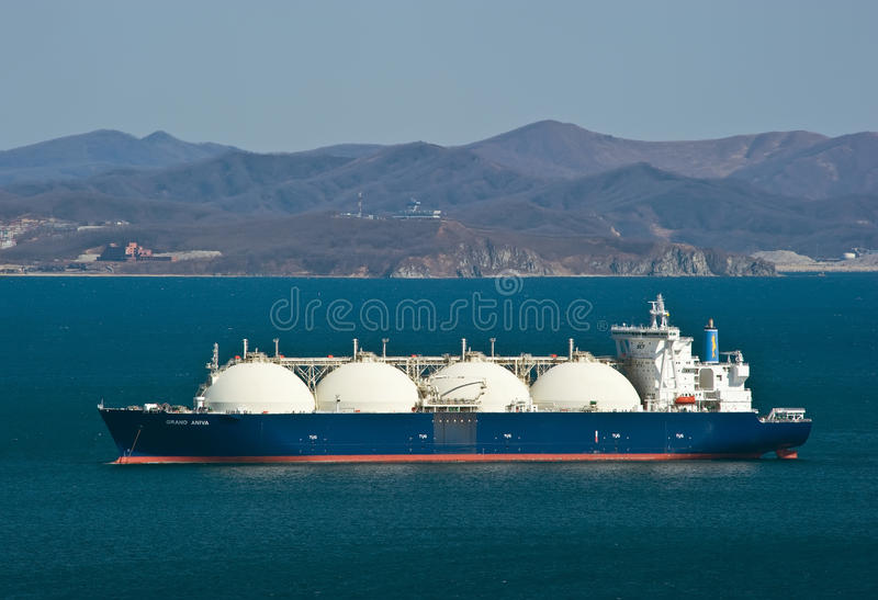LNG carrier Grand Aniva on the roads of the port of Nakhodka. Far East of Russia. East (Japan) Sea. 31.03.2014 stock images