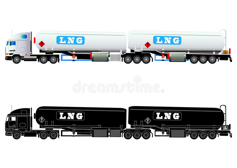 LNG gas tanker truck, vector stock illustration