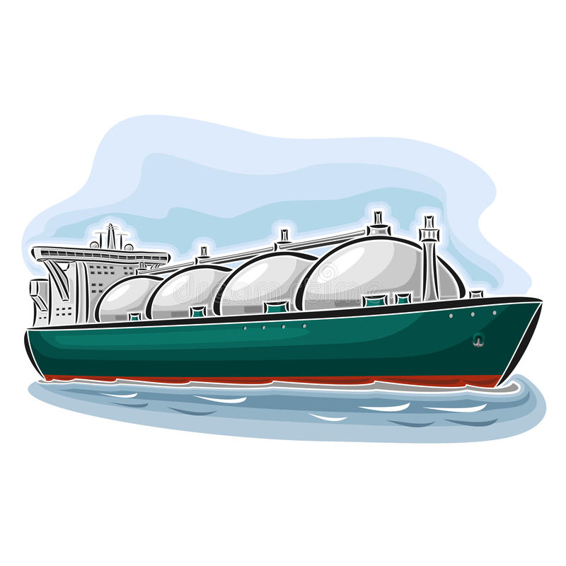 LNG liquefied natural gas carrier ship. Vector illustration of logo for LNG liquefied natural gas carrier ship, consisting of cryogenic super tanker, vessel with stock illustration