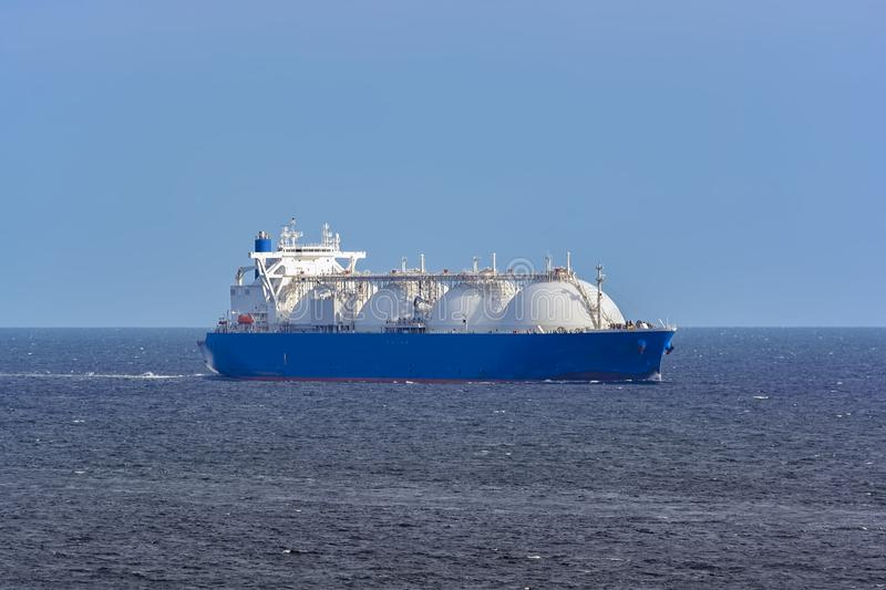 LNG tanker is passing by Singapore Strait. stock photos